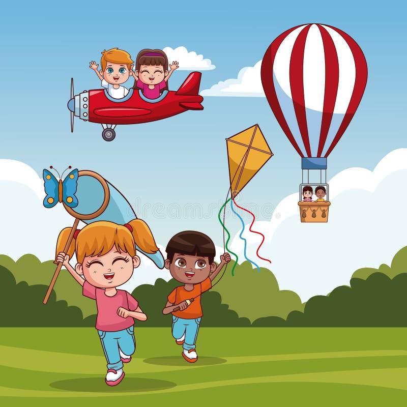 Χαριτωμένα παιδιά στο πάρκο διανυσματική απεικόνιση