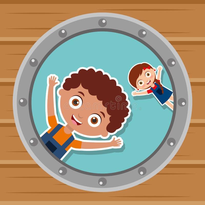 Χαριτωμένα παιδιά στο στρογγυλό παράθυρο ευτυχές απεικόνιση αποθεμάτων