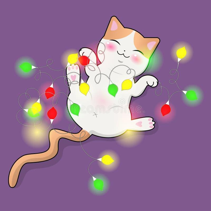 Χαριτωμένα παιχνίδια γατών με μια πολύχρωμη γιρλάντα Αυτοκόλλητη ετικέττα, κάρτα, τυπωμένη ύλη μπλουζών και περισσότεροι Διανυσμα απεικόνιση αποθεμάτων