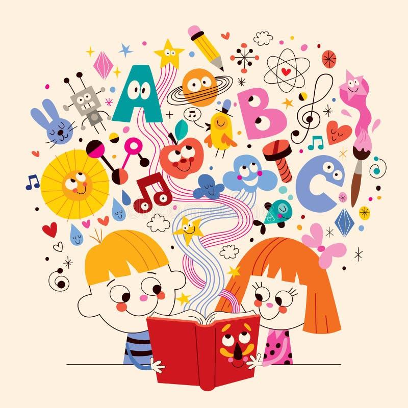 Χαριτωμένα παιδιά που διαβάζουν την απεικόνιση έννοιας εκπαίδευσης βιβλίων