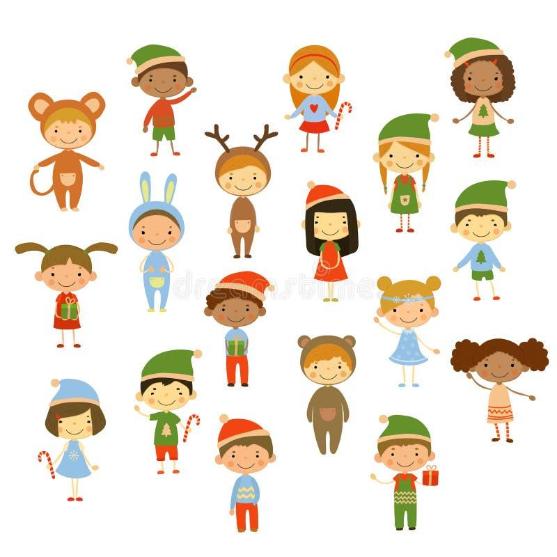 Χαριτωμένα παιδιά που φορούν τα κοστούμια Χριστουγέννων ελεύθερη απεικόνιση δικαιώματος