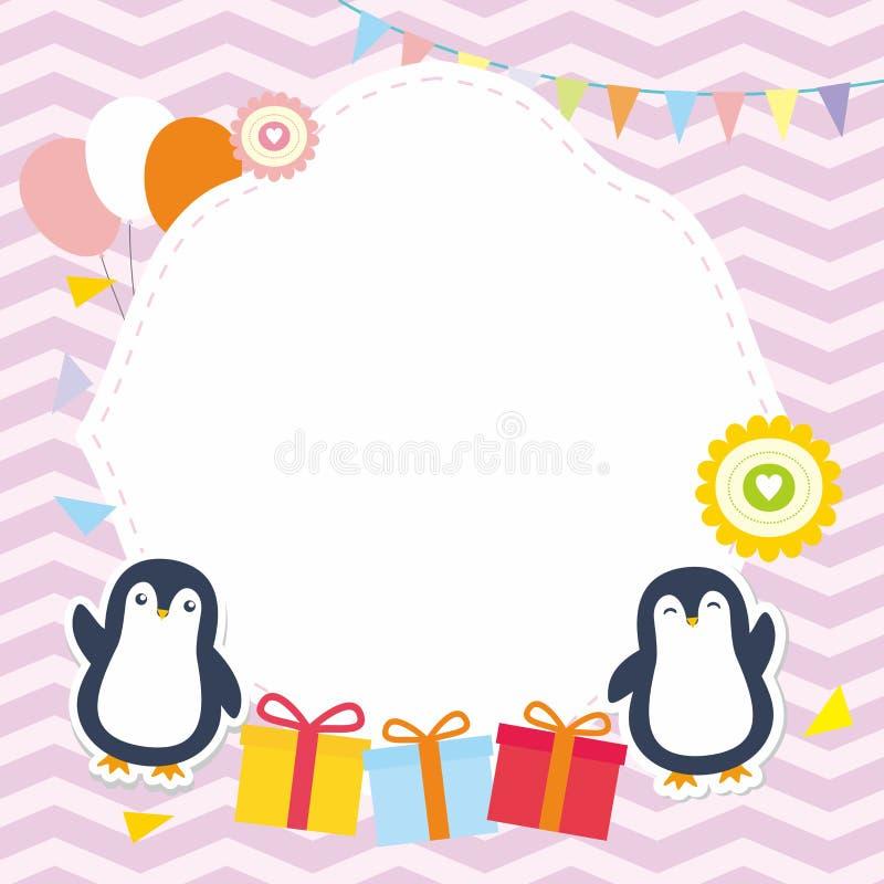 Χαριτωμένα πλαίσιο/σύνορα με το λατρευτό διάνυσμα Penguin απεικόνιση αποθεμάτων