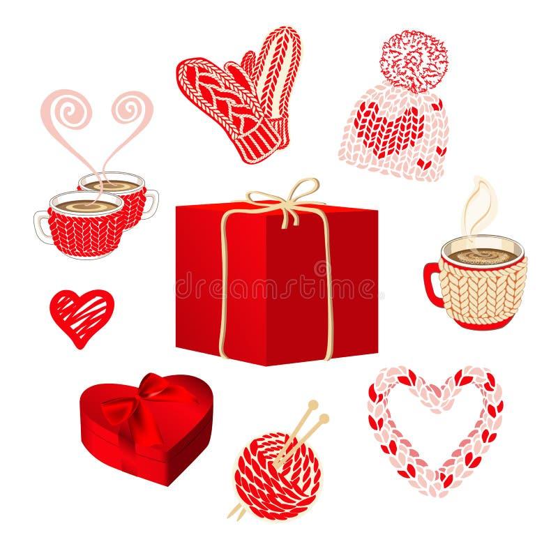 Χαριτωμένα πλεκτά πράγματα και κιβώτια δώρων που τίθενται για το σχέδιο καρτών βαλεντίνων ή διακοπών ελεύθερη απεικόνιση δικαιώματος