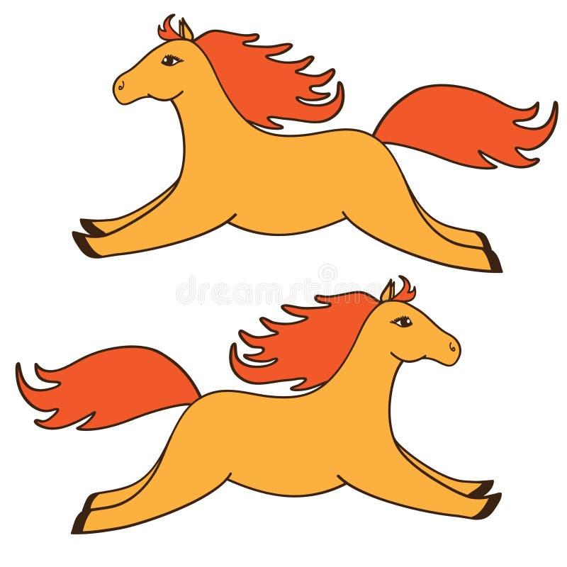 Χαριτωμένα πορτοκαλιά άλογα κινούμενων σχεδίων. απεικόνιση αποθεμάτων