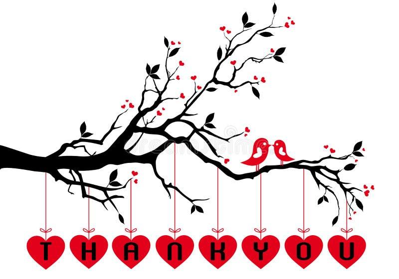 Πουλιά στο δέντρο με τις κόκκινες καρδιές, διάνυσμα ελεύθερη απεικόνιση δικαιώματος