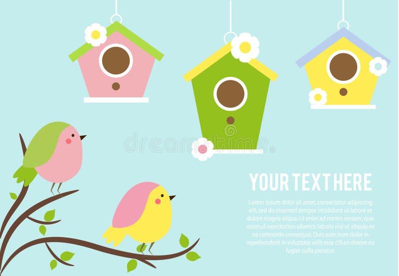 Χαριτωμένα πουλιά που κάθονται στους κλάδους δέντρων Ένωση Birdhouses Διανυσματικό έμβλημα, εποχιακό υπόβαθρο άνοιξη ελεύθερη απεικόνιση δικαιώματος