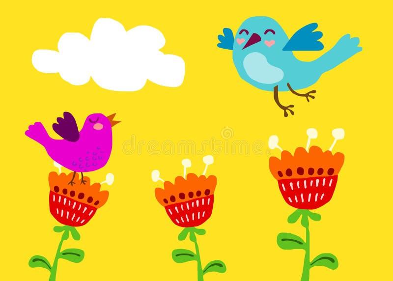 Χαριτωμένα πουλιά στα λουλούδια διανυσματική απεικόνιση