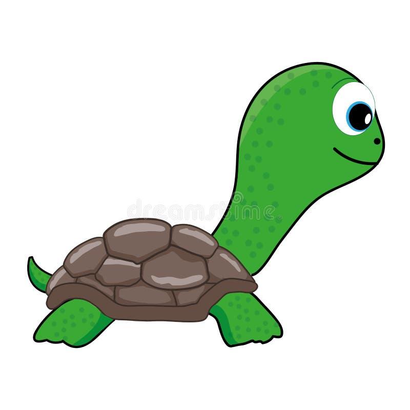 Χαριτωμένα πράσινα κινούμενα σχέδια χελωνών, τέχνη συνδετήρων ελεύθερη απεικόνιση δικαιώματος
