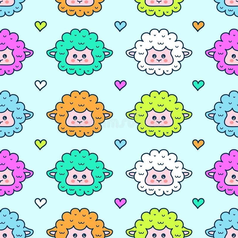 χαριτωμένα πρόβατα άνευ ραφής σχέδιο προσώπου αρνιών διανυσματική απεικόνιση