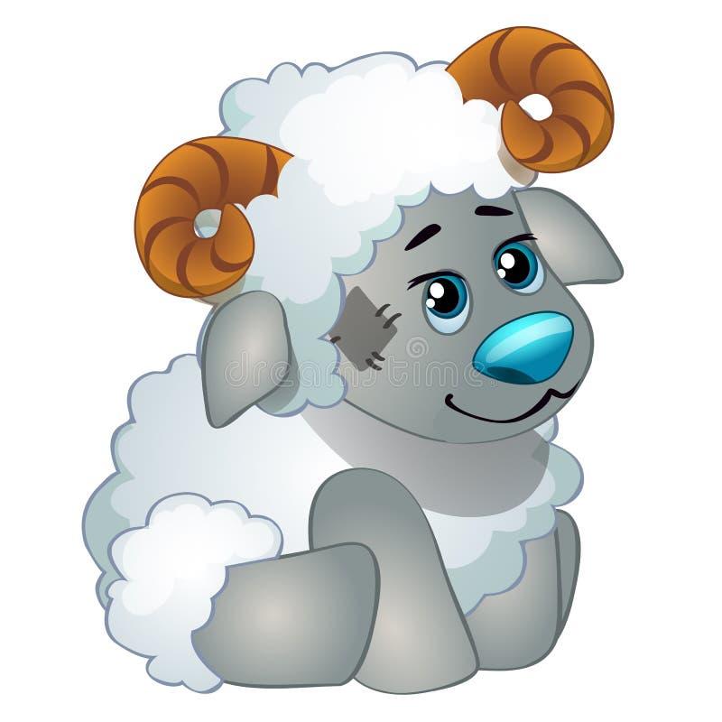 Χαριτωμένα πρόβατα - γεμισμένο παιχνίδι των παλαιών παιδιών με το μπάλωμα Διάνυσμα στο ύφος κινούμενων σχεδίων που απομονώνεται σ διανυσματική απεικόνιση