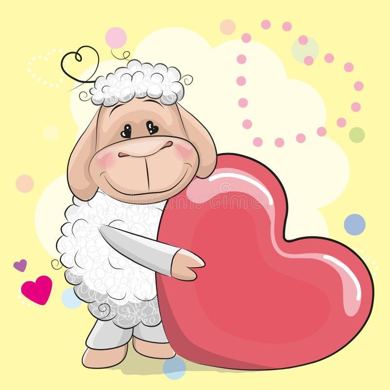 Χαριτωμένα πρόβατα ευχετήριων καρτών με την καρδιά διανυσματική απεικόνιση