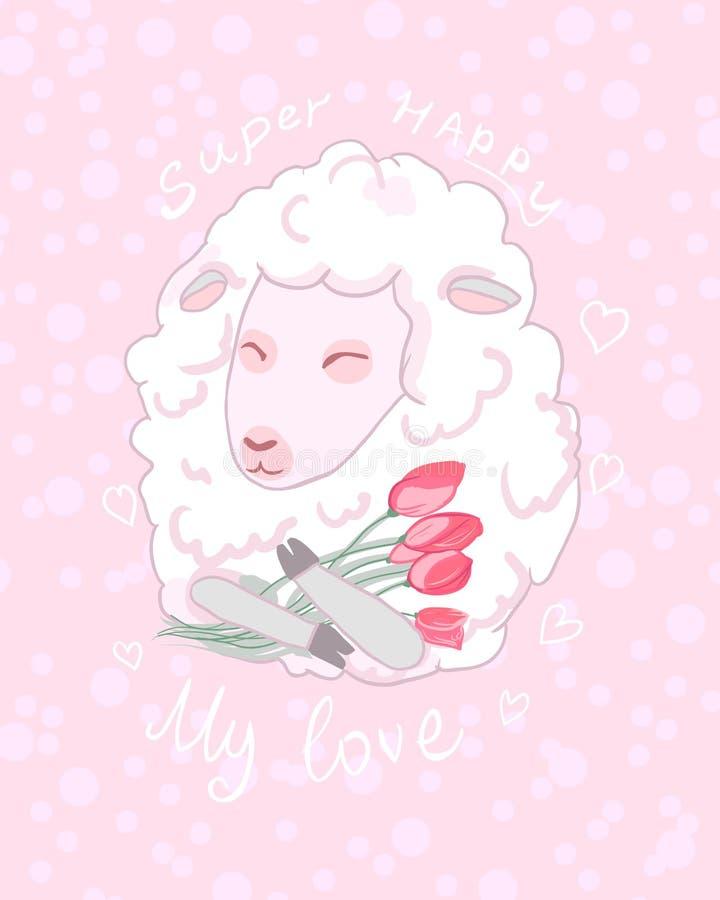 Χαριτωμένα πρόβατα κινούμενων σχεδίων με την ανθοδέσμη των λουλουδιών - ρομαντική κάρτα χαιρετισμού για την τυπωμένη ύλη Φιλία, α διανυσματική απεικόνιση