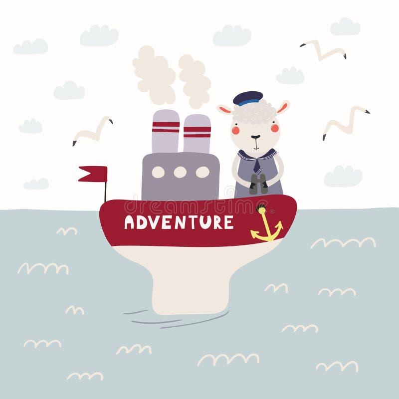 Χαριτωμένα πρόβατα σε ένα ατμόπλοιο απεικόνιση αποθεμάτων