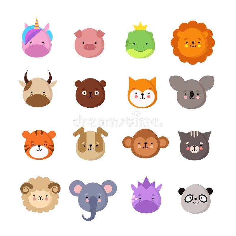 Χαριτωμένα πρόσωπα ζώων Σκυλί και γάτα, αγελάδα και αλεπού, μονόκερος και panda Ζωικό emoji παιδιών Διανυσματική συλλογή ζωολογικ απεικόνιση αποθεμάτων