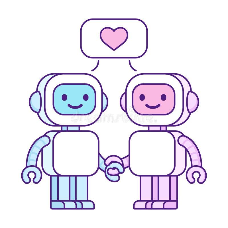 Χαριτωμένα ρομπότ ερωτευμένα απεικόνιση αποθεμάτων