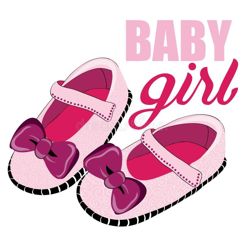 Χαριτωμένα ρόδινα παπούτσια για το νεογέννητο κορίτσι κορίτσι μπουκαλιών μωρών διανυσματικό λευκό καρ&chi απεικόνιση αποθεμάτων