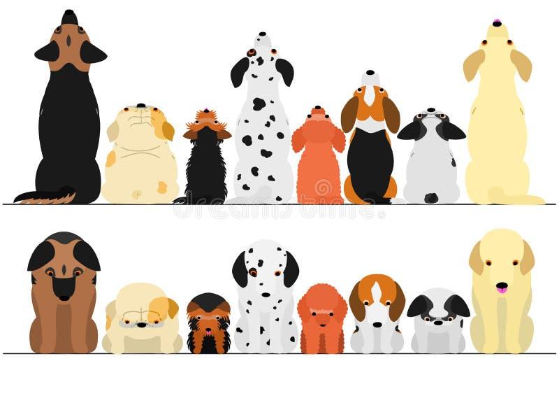 Χαριτωμένα σκυλιά που κοιτάζουν πάνω-κάτω το σύνολο συνόρων διανυσματική απεικόνιση