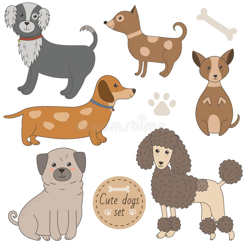 Χαριτωμένα σκυλιά καθορισμένα διανυσματική απεικόνιση