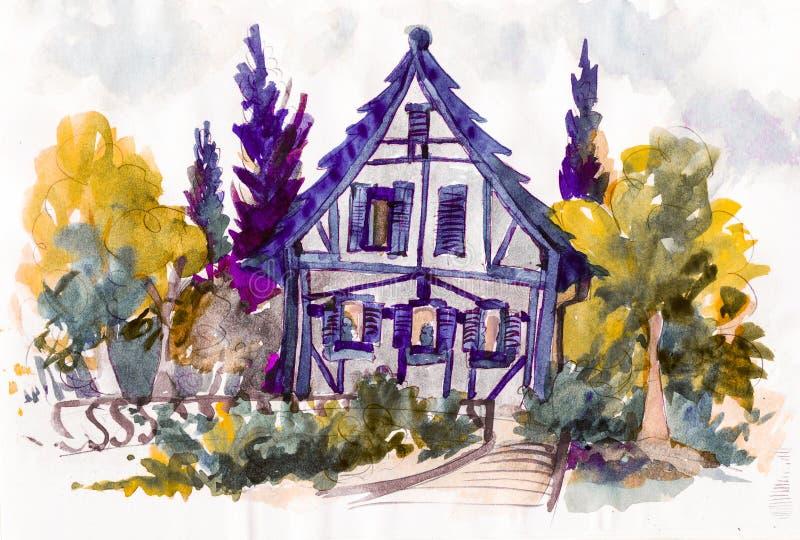 Χαριτωμένα σπίτια με το κόκκινο έργο τέχνης watercolor στεγών απεικόνιση αποθεμάτων