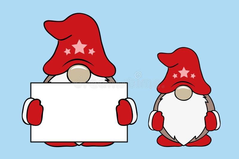 Χαριτωμένα στοιχειά Χριστουγέννων με τα κόκκινες ενδύματα και την κάρτα απεικόνιση αποθεμάτων
