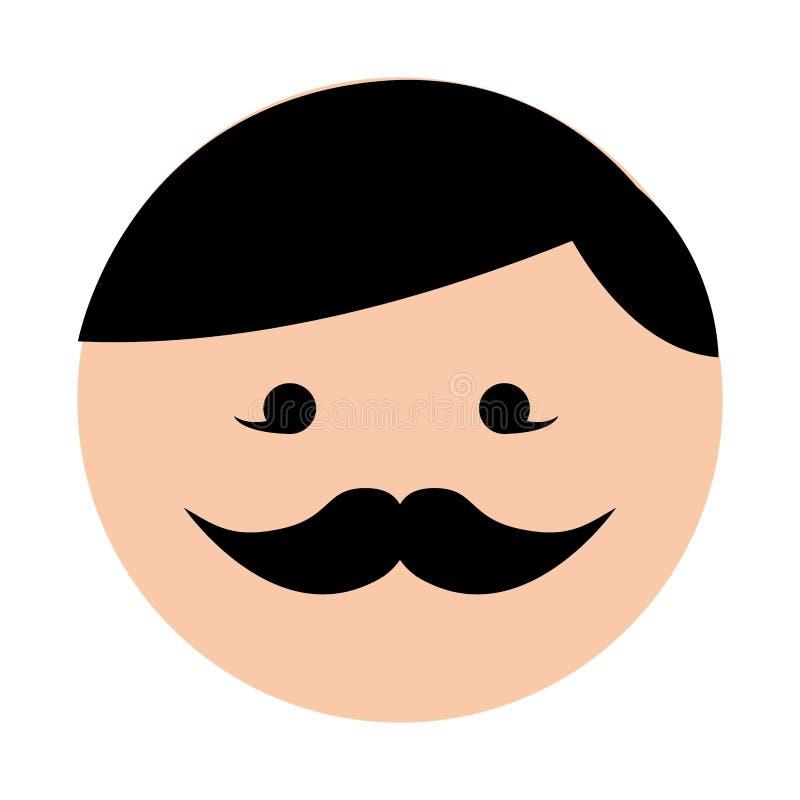 Χαριτωμένα στρογγυλά κινούμενα σχέδια προσώπου ατόμων moustache απεικόνιση αποθεμάτων