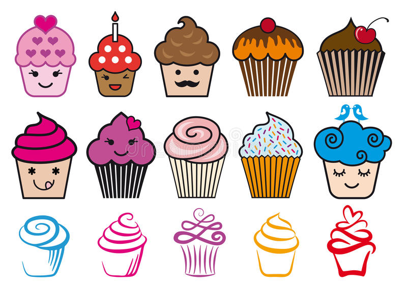 Χαριτωμένα σχέδια cupcake, διανυσματικό σύνολο απεικόνιση αποθεμάτων