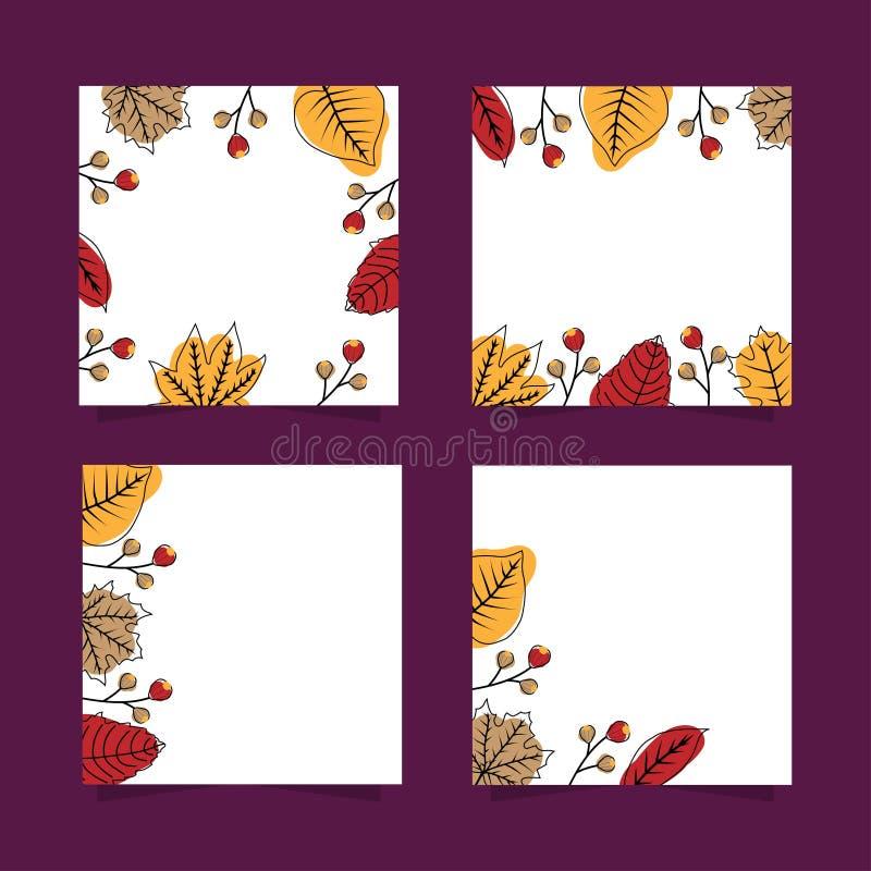 Χαριτωμένα τετραγωνικά εμβλήματα φθινοπώρου που τίθενται με τα ξηρά φύλλα διανυσματική απεικόνιση