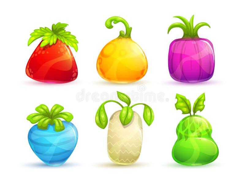 Χαριτωμένα φρούτα και μούρα φαντασίας κινούμενων σχεδίων φωτεινά ζωηρόχρωμα απεικόνιση αποθεμάτων