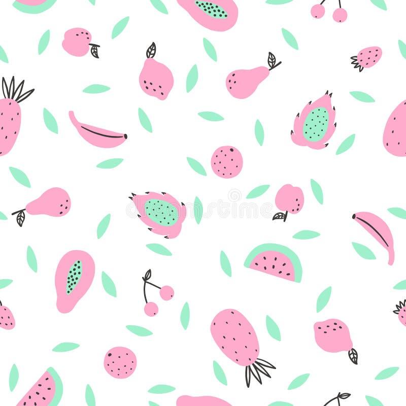Χαριτωμένα φρούτα ροζ και μεντών απεικόνιση αποθεμάτων