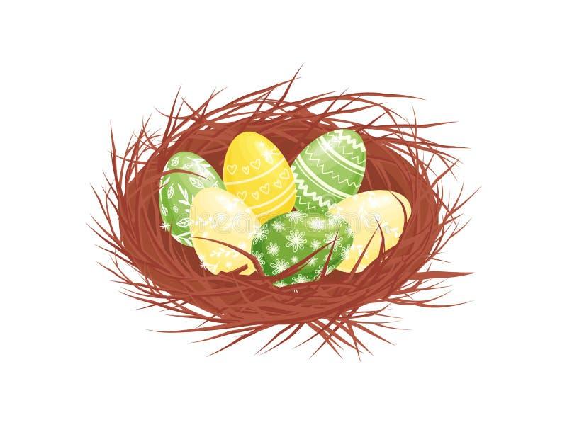 Χαριτωμένα χρωματισμένα αυγά Πάσχας στην καφετιά σύνθεση διακοπών φωλιών Επίπεδο διάνυσμα για την εορταστικό αφίσα ή το έμβλημα ελεύθερη απεικόνιση δικαιώματος