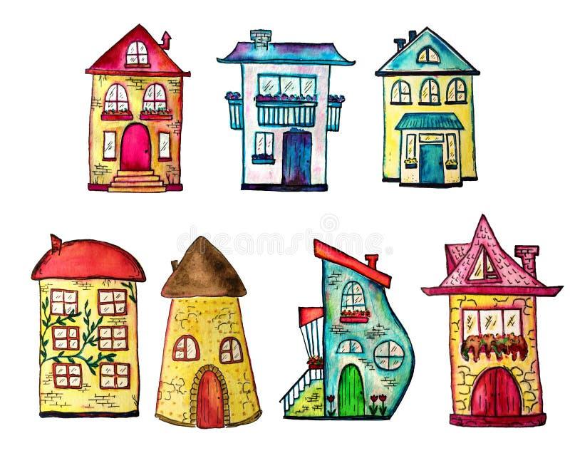Χαριτωμένα χρωματισμένα watercolor σπίτια καθορισμένα Μπορέστε να χρησιμοποιηθείτε για το χαριτωμένο σχέδιο τυπωμένων υλών για τη απεικόνιση αποθεμάτων