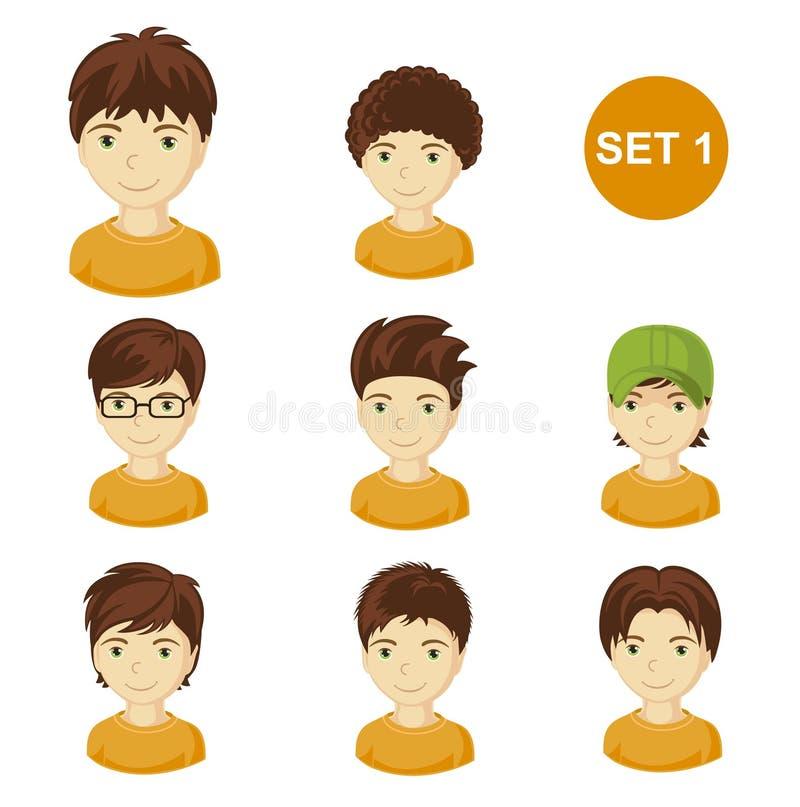Χαριτωμένα brunet μικρά παιδιά με το διάφορο ύφος τρίχας ελεύθερη απεικόνιση δικαιώματος