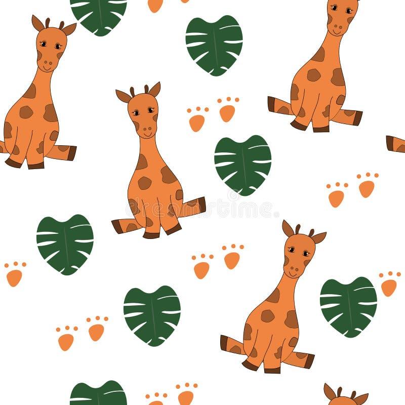 Χαριτωμένα giraffes, φύλλα monstera άνευ ραφής απεικόνιση αποθεμάτων