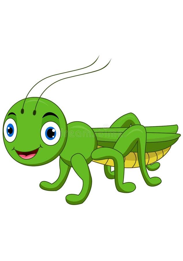 Χαριτωμένα grasshopper κινούμενα σχέδια που απομονώνονται στο άσπρο υπόβαθρο ελεύθερη απεικόνιση δικαιώματος