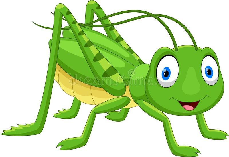 Χαριτωμένα grasshopper κινούμενα σχέδια ελεύθερη απεικόνιση δικαιώματος