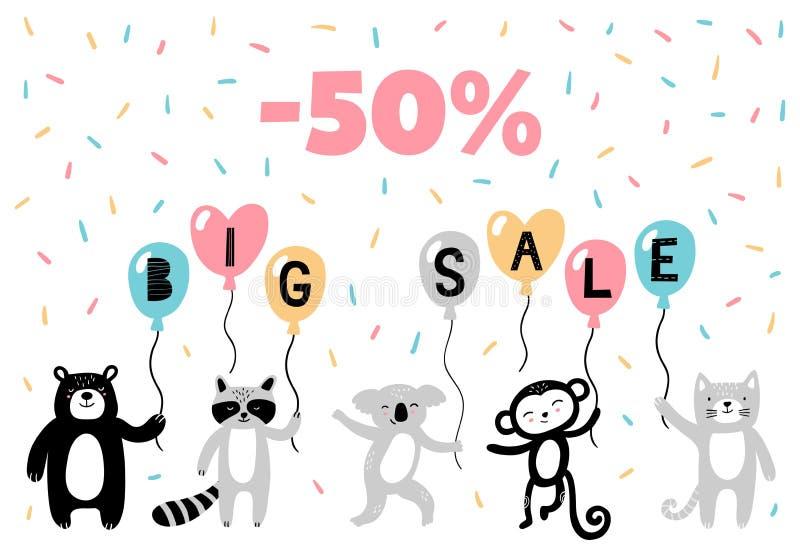 Χαριτωμένα hand-drawn ζώα στη διαφήμιση του εμβλήματος: αντέξτε, ρακούν, koala, πίθηκος και γάτα απεικόνιση αποθεμάτων