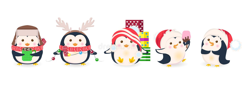 Χαριτωμένα penguins καθορισμένα Διανυσματική απεικόνιση κινούμενων σχεδίων Χριστουγέννων διανυσματική απεικόνιση