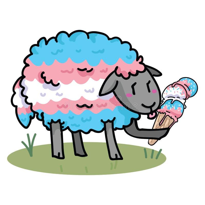 Χαριτωμένα transgender πρόβατα με το νόστιμο σύνολο μοτίβου απεικόνισης κινούμενων σχεδίων παγωτού Το χέρι που σύρεται απομονωμέν διανυσματική απεικόνιση