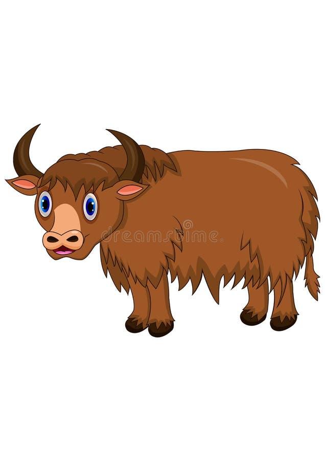 Χαριτωμένα yak κινούμενα σχέδια διανυσματική απεικόνιση
