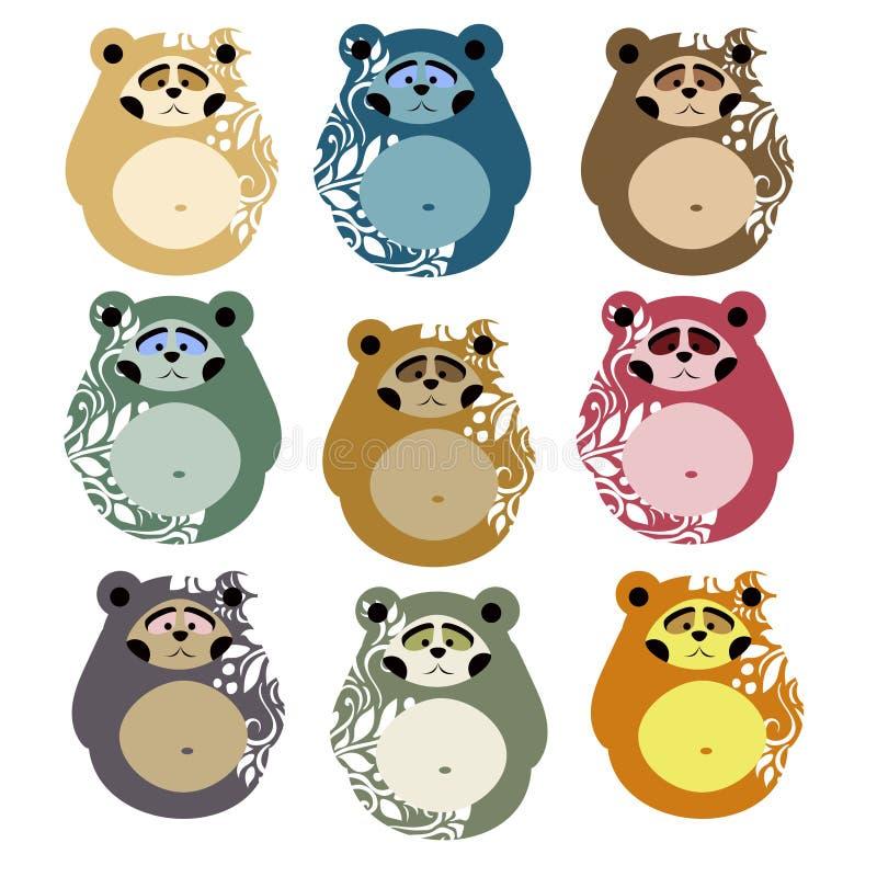 Χαριτωμένες αρκούδες για τα σχέδια και τη διακόσμηση Ύφος Matryoshka απεικόνιση αποθεμάτων