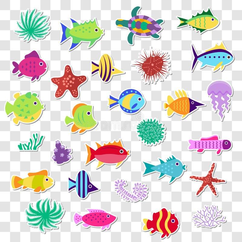 Χαριτωμένες αυτοκόλλητες ετικέττες των θαλασσίων ψαριών θάλασσας, ζώα, εγκαταστάσεις Διανυσματικό καθορισμένο ο ελεύθερη απεικόνιση δικαιώματος