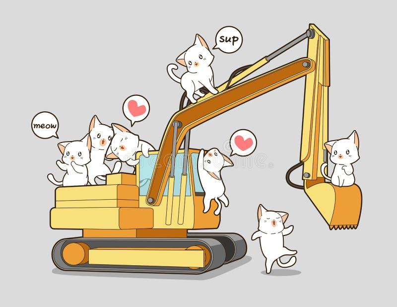 Χαριτωμένες γάτες και το τρακτέρ ελεύθερη απεικόνιση δικαιώματος