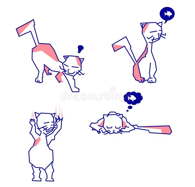Χαριτωμένες γάτες κινούμενων σχεδίων με τις διαφορετικές δραστηριότητες απεικόνιση αποθεμάτων