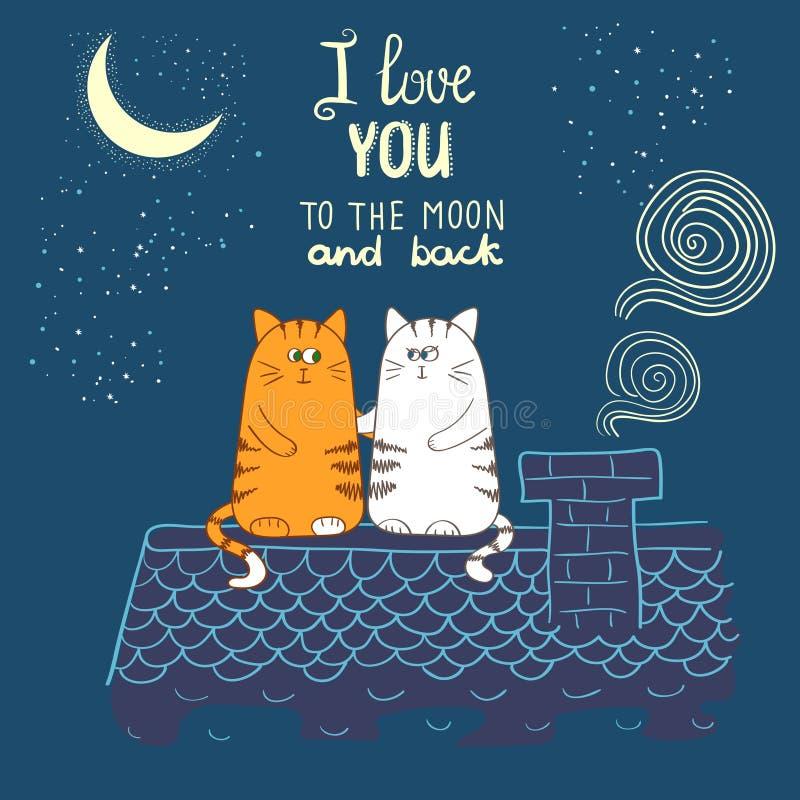 Χαριτωμένες γάτες κινούμενων σχεδίων ερωτευμένες Ρομαντική διανυσματική απεικόνιση απεικόνιση αποθεμάτων