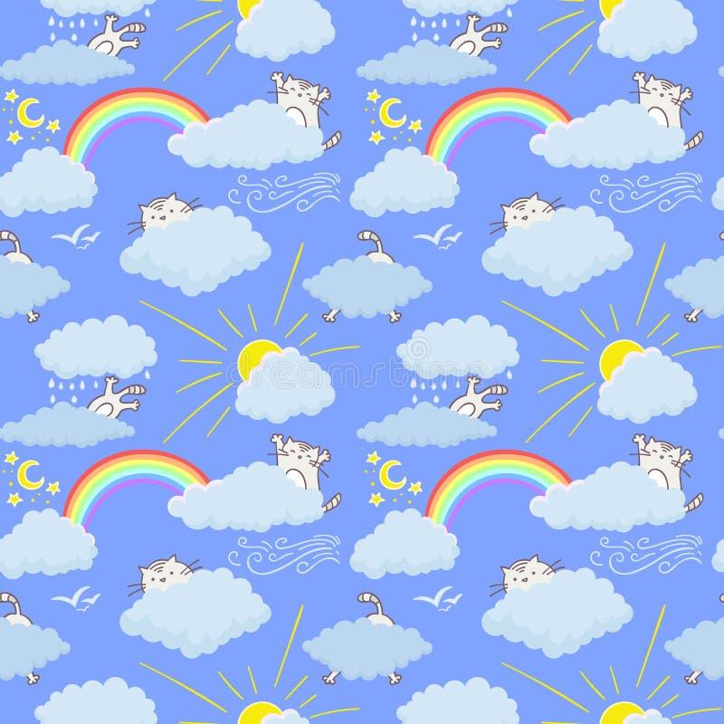Χαριτωμένες γάτες στο ευτυχές παιδαριώδες άνευ ραφής σχέδιο σχεδίων ουρανού Σύσταση για τις ταπετσαρίες, ύφασμα, περικάλυμμα, υπό ελεύθερη απεικόνιση δικαιώματος