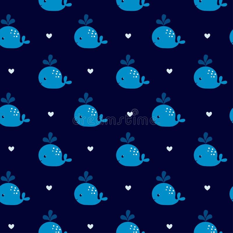 Χαριτωμένες γαλάζιες φάλαινες σε ένα σκοτεινό υπόβαθρο απεικόνιση αποθεμάτων