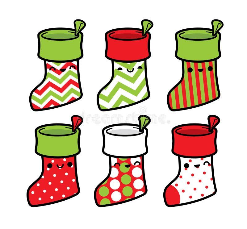 Χαριτωμένες γυναικείες κάλτσες Χριστουγέννων που τίθενται στα διάφορα σχέδια Χαριτωμένες γυναικείες κάλτσες Χριστουγέννων χαρακτή απεικόνιση αποθεμάτων