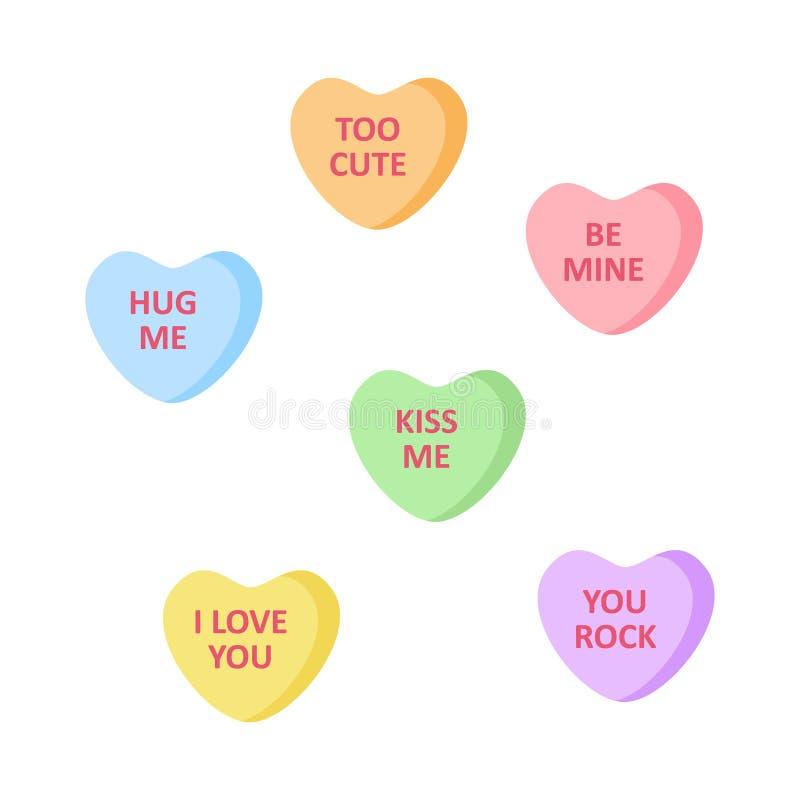 Χαριτωμένες διαμορφωμένες καρδιά καραμέλες με τις γραφές ελεύθερη απεικόνιση δικαιώματος
