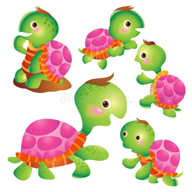 Χαριτωμένες ενέργειες κινούμενων σχεδίων χελωνών διανυσματική απεικόνιση