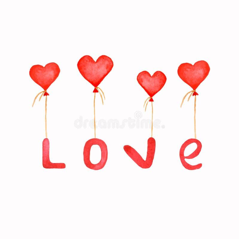 Χαριτωμένες επιστολές αγάπης τυπωμένων υλών Watercolor με τα κόκκινα μπαλόνια καρδιών Χρησιμοποιημένος ως κάρτα, πρόσκληση & αφίσ διανυσματική απεικόνιση